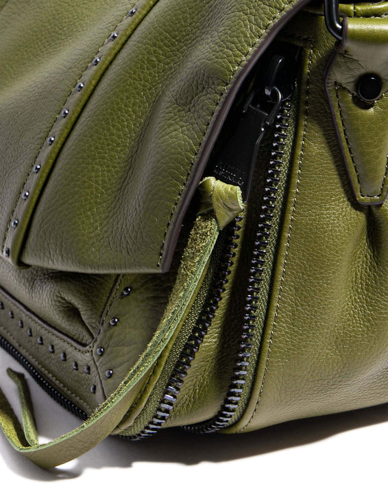 When In Milan Large Crossbody Olive - gusset zipper detail