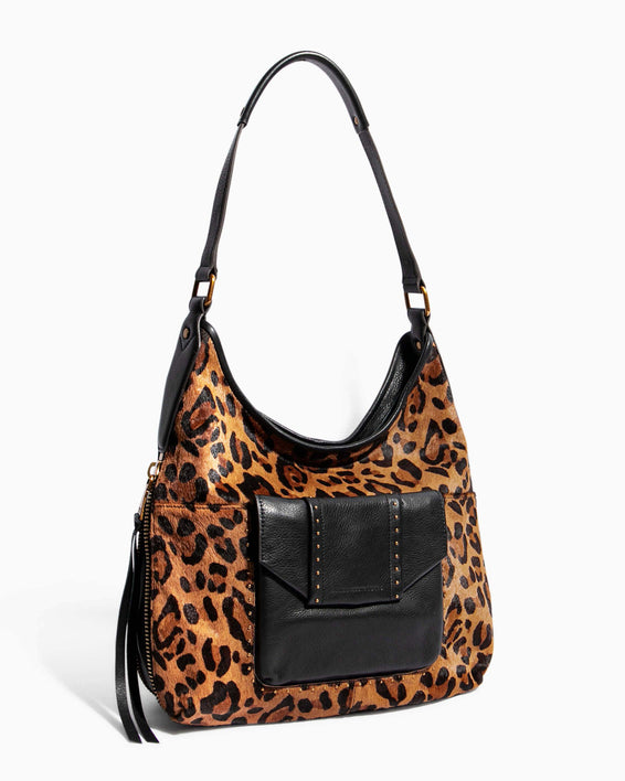 When In Milan Hobo Large Leopard Haircalf - side angle