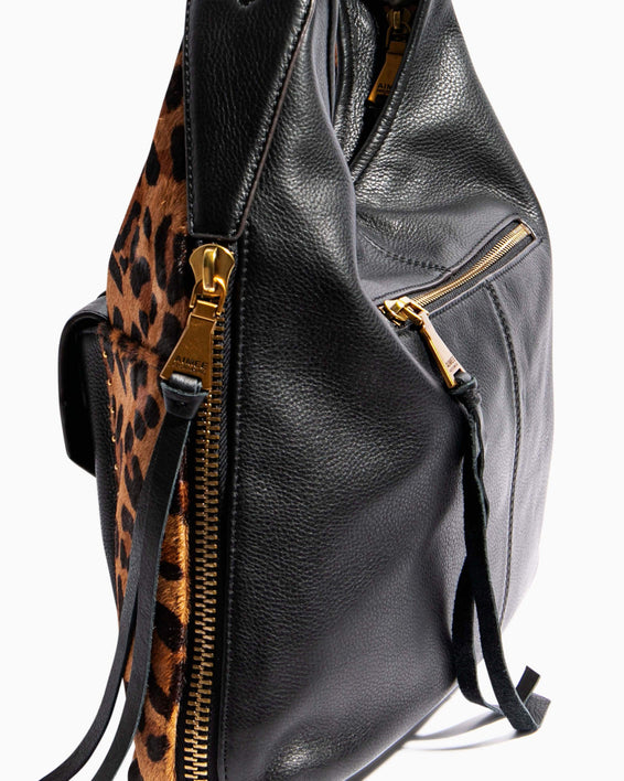 When In Milan Hobo Large Leopard Haircalf - gusset zipper detail