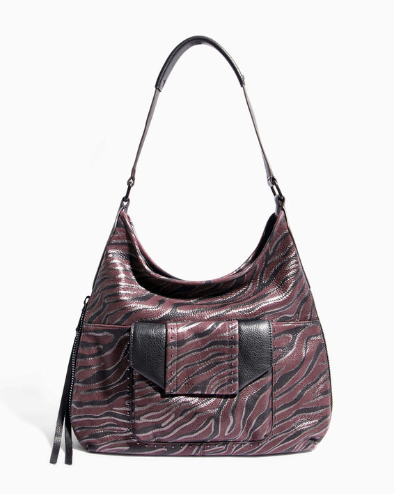 When In Milan Hobo Merlot Zebra - front