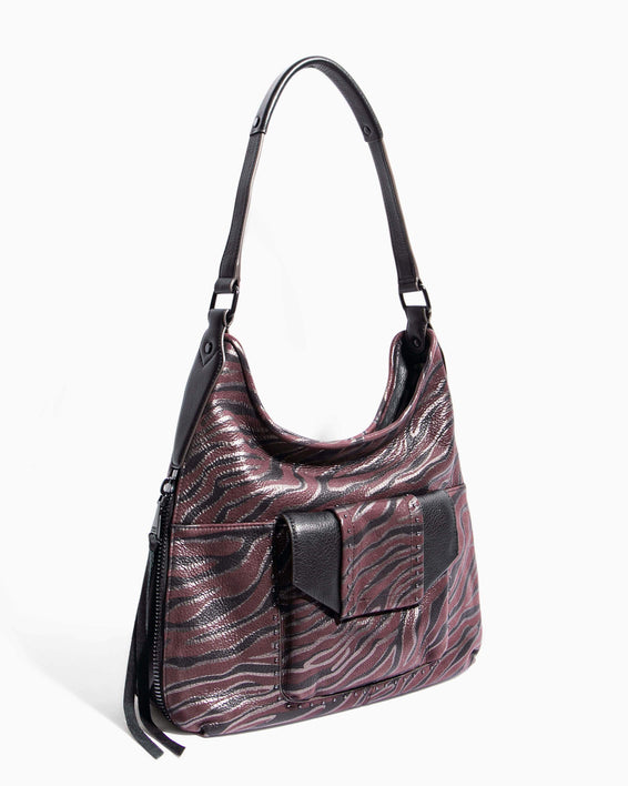 When In Milan Hobo Merlot Zebra - side angle