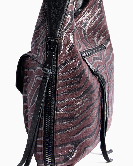 When In Milan Hobo Merlot Zebra - gusset zipper detail