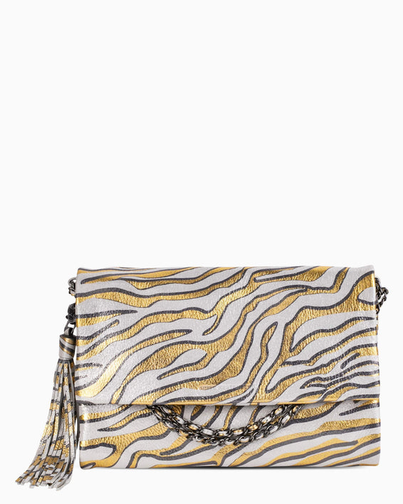 Bali Convertible Clutch - Metallic Zebra