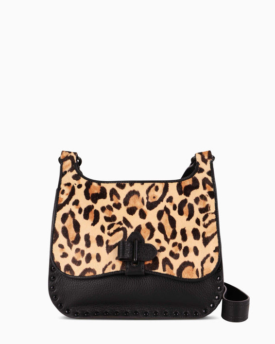 Happy Hour Convertible Shoulder Bag - jungle leopard haircalf front