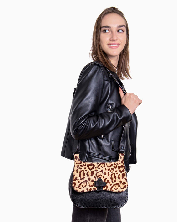 Happy Hour Convertible Shoulder Bag - jungle leopard haircalf on model