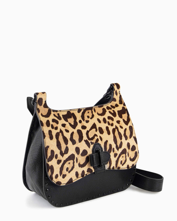 Happy Hour Convertible Shoulder Bag - jungle leopard haircalf side angle
