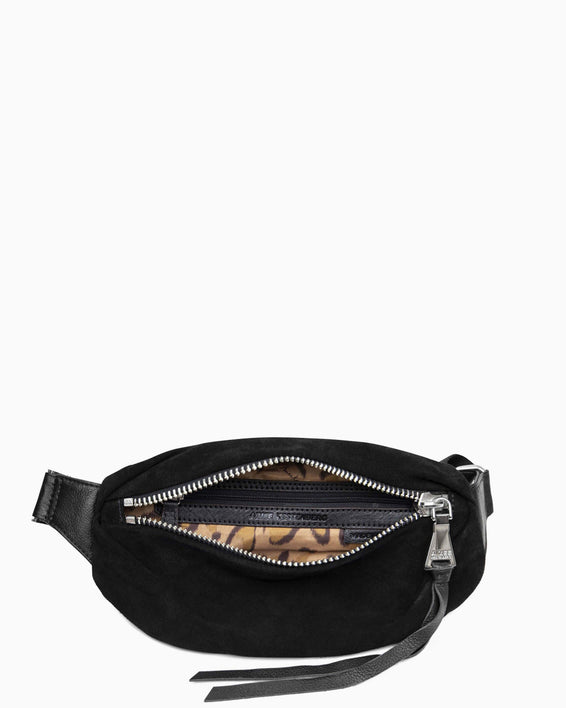 Milan Bum Bag - Black Suede inside