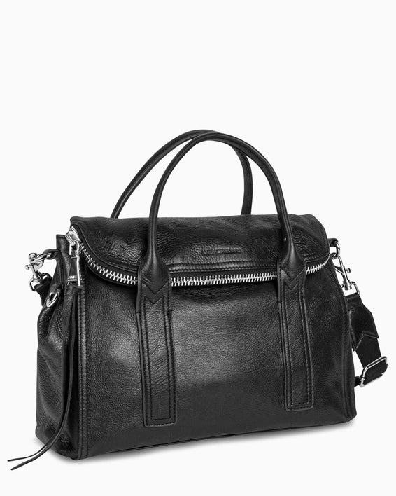 On my way satchel - Black side angle