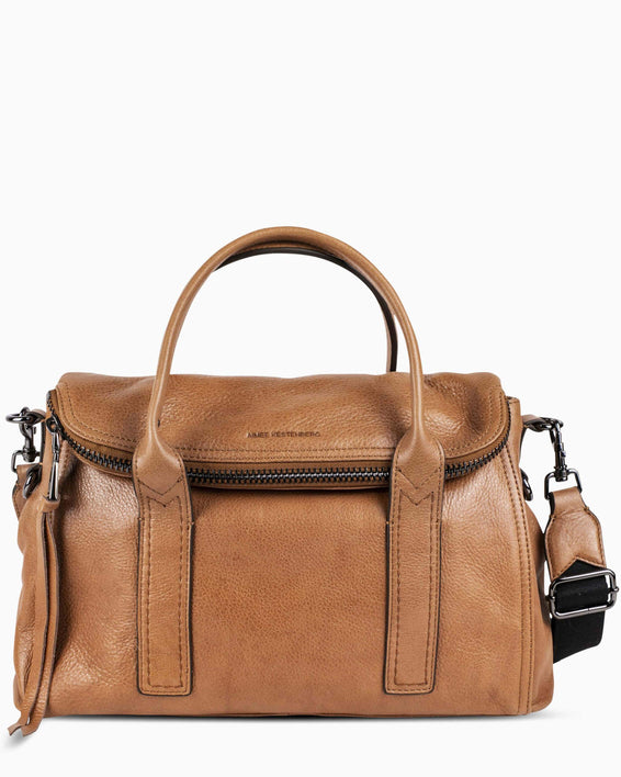 On my way satchel - Camel front