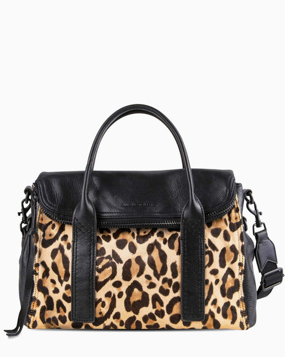 On my way satchel - Jungle Leopard Haircalf front