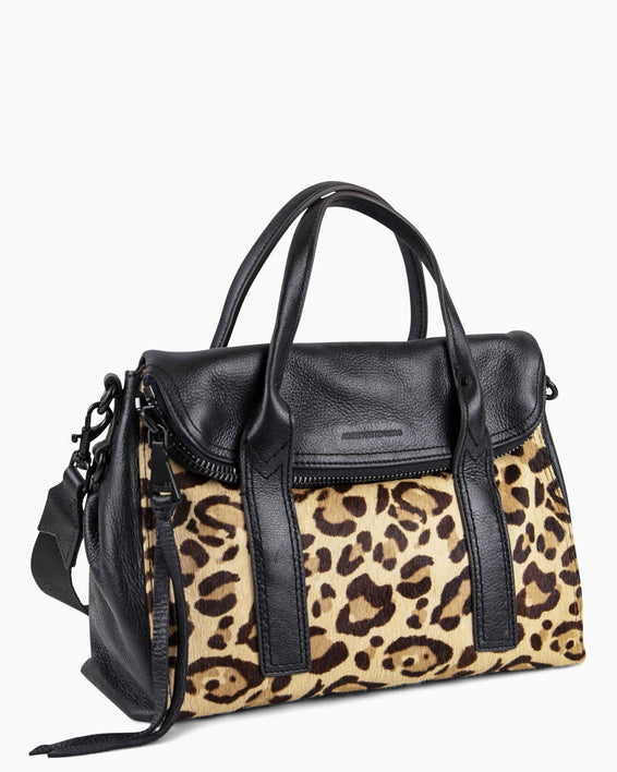 On my way satchel - Jungle Leopard Haircalf Side angle