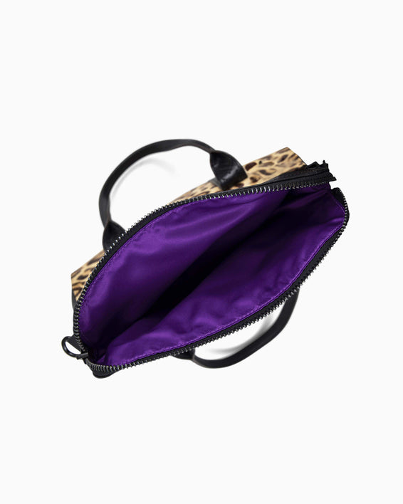 On my way satchel - Jungle Leopard Haircalf inside