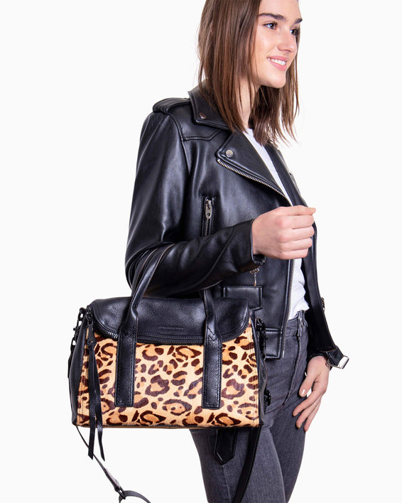 On my way satchel - Jungle Leopard Haircalf on model