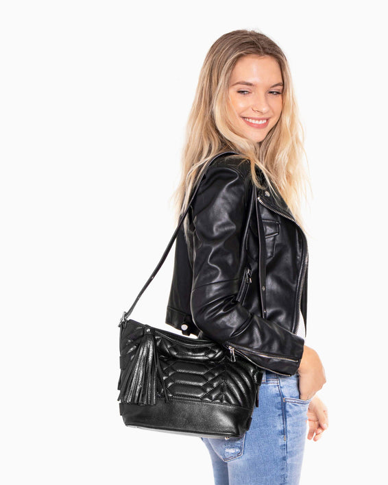 Scene Stealer bucket bag - Black on fig