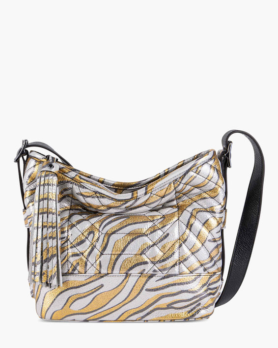 Scene Stealer bucket bag - Metallic Zebra front