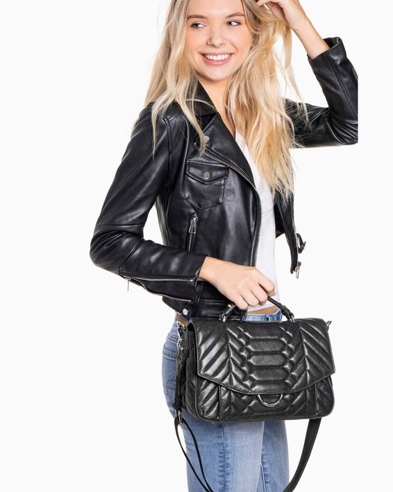 Scene Stealer top handle Crossbody - Black On model