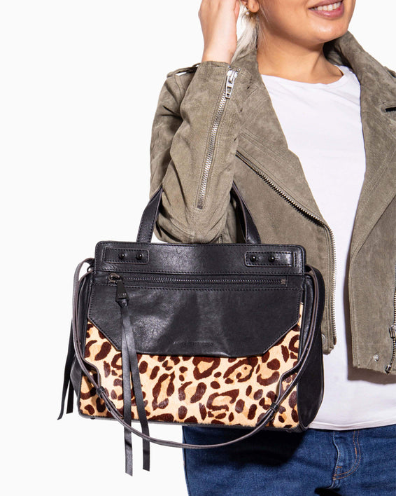 Walk of fame satchel - Large Cheetah Haircalf  on model