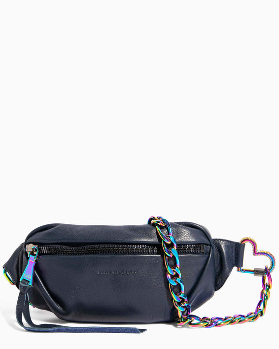 Heart Chain Bum Bag Deep Indigo With Iridescent Hardware - front