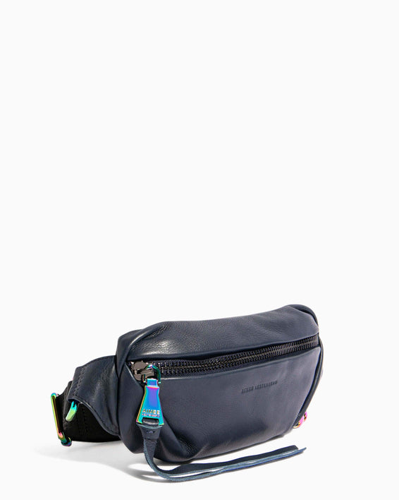 Heart Chain Bum Bag Deep Indigo With Iridescent Hardware - side angle