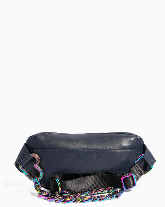 Heart Chain Bum Bag Deep Indigo With Iridescent Hardware - back