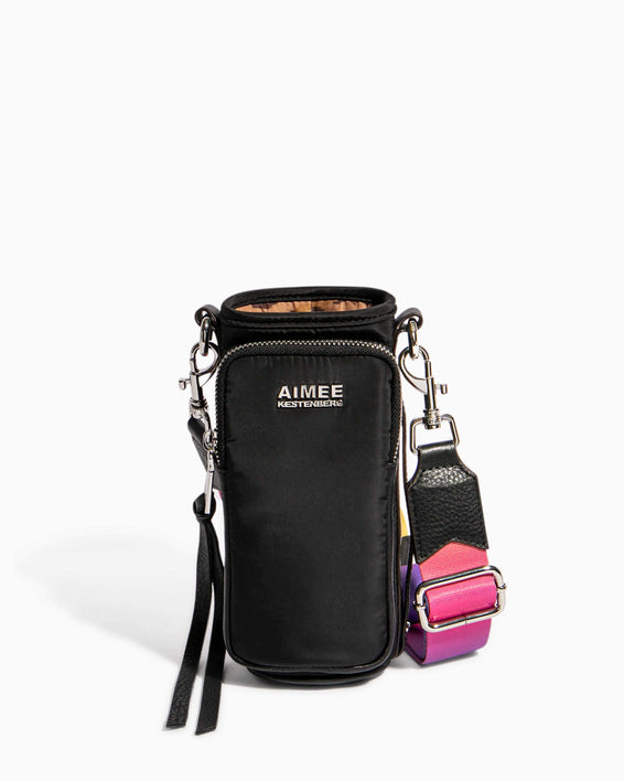 On Top Of The World Water Bottle Crossbody Black With Ombre Strap - front