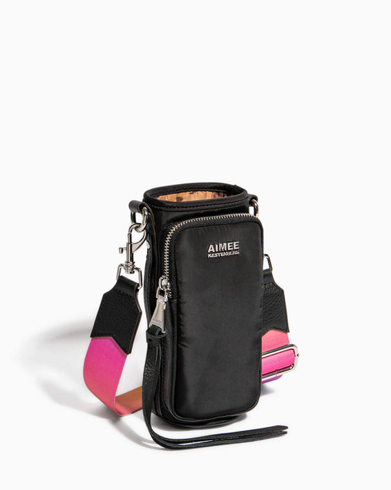 On Top Of The World Water Bottle Crossbody Black With Ombre Strap - side angle