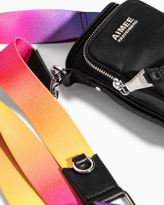 On Top Of The World Water Bottle Crossbody Black With Ombre Strap - sunglass hook strap detail