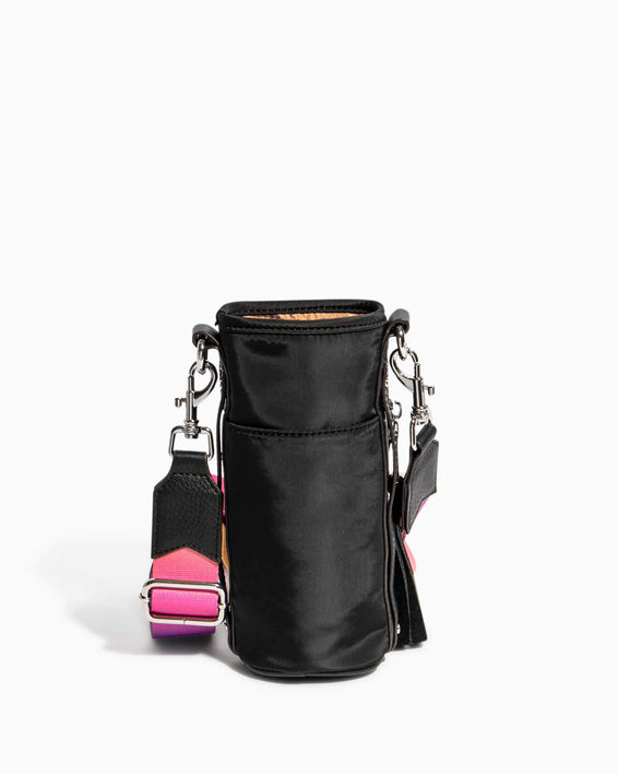 On Top Of The World Water Bottle Crossbody Black With Ombre Strap - back