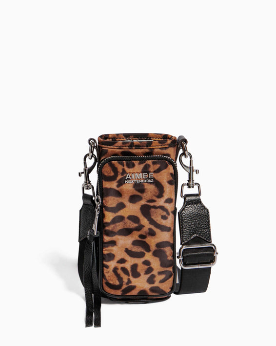 On Top Of The World Water Bottle Crossbody Jungle Leopard - front