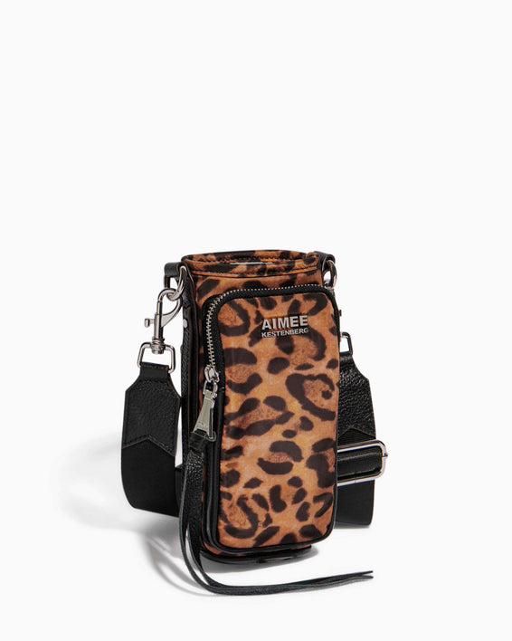 On Top Of The World Water Bottle Crossbody Jungle Leopard - side angle