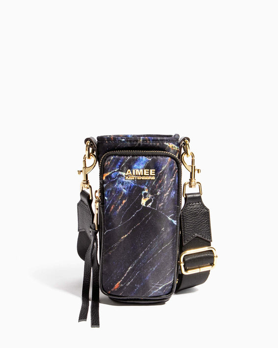 On Top Of The World Water Bottle Crossbody Midnight Marble - front