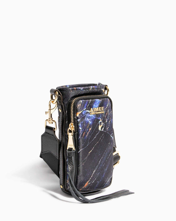 On Top Of The World Water Bottle Crossbody Midnight Marble - side angle