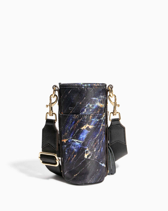 On Top Of The World Water Bottle Crossbody Midnight Marble - back