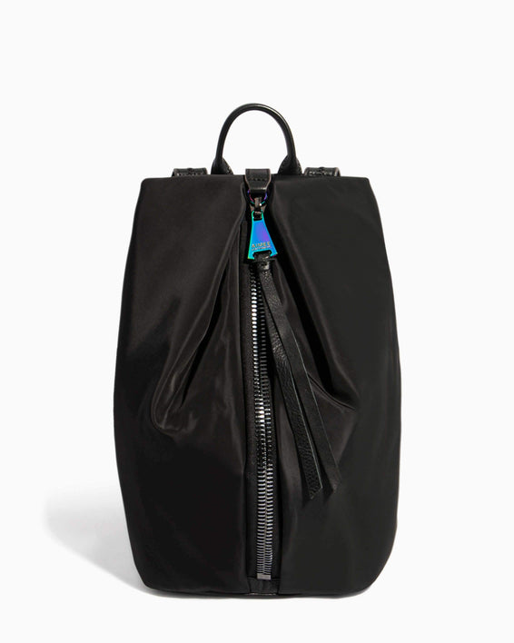 Tamitha Backpack Black Nylon With Iridescent Hardware - front