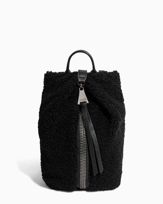 Tamitha Mini Backpack Black Shearling - front
