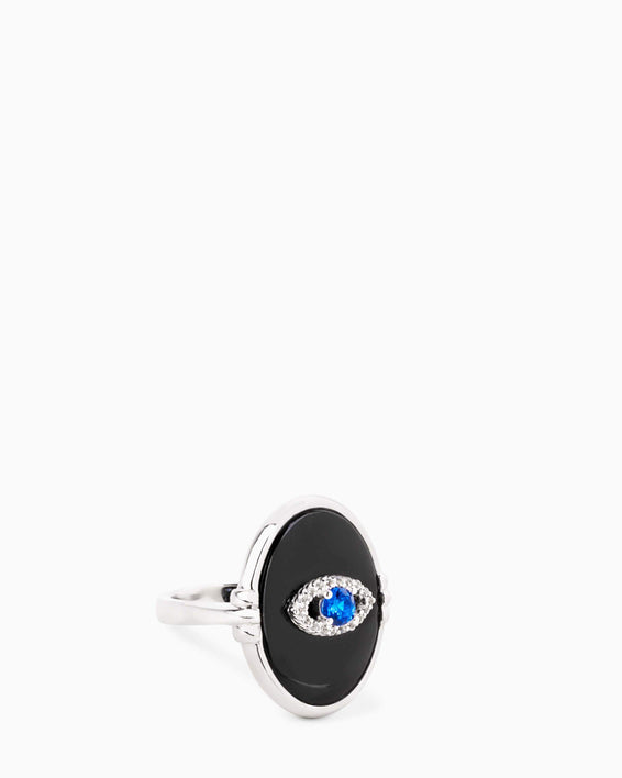 Black Agate Eye Ring - silver front
