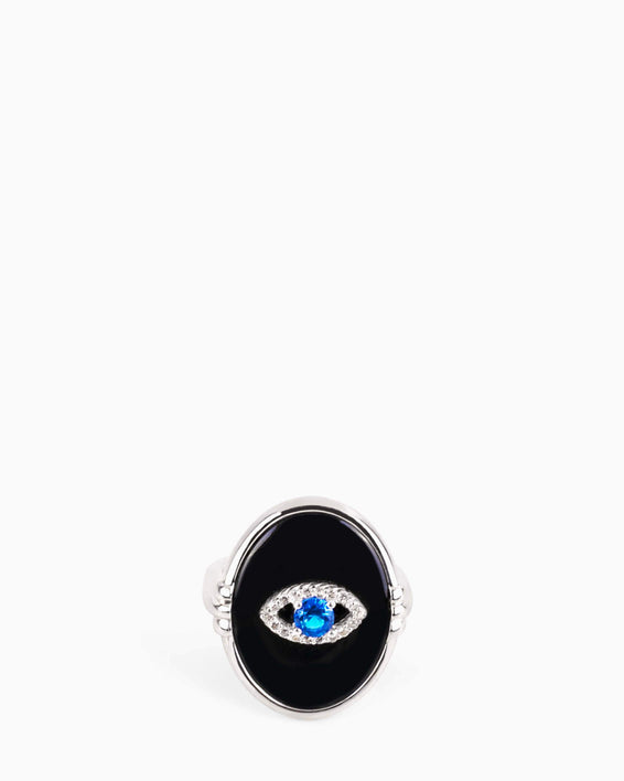 Black Agate Eye Ring - silver detail