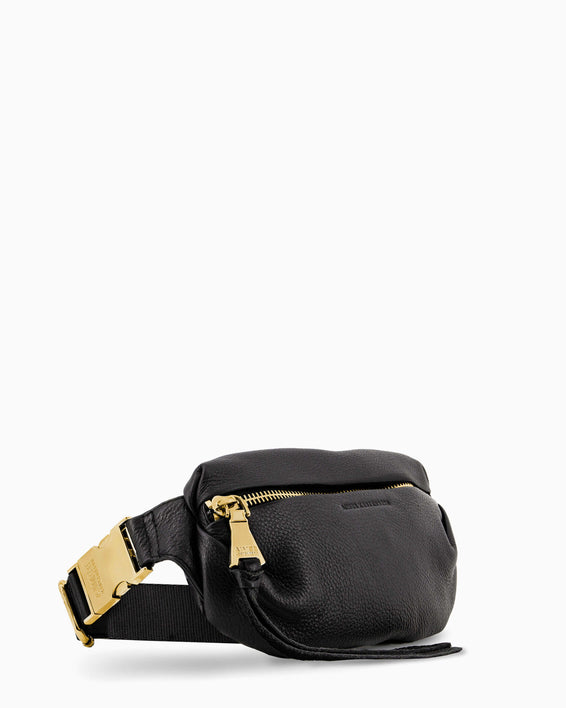 Aimee Kestenberg | Milan Bum Bag Black With Gold Hardware - side angle
