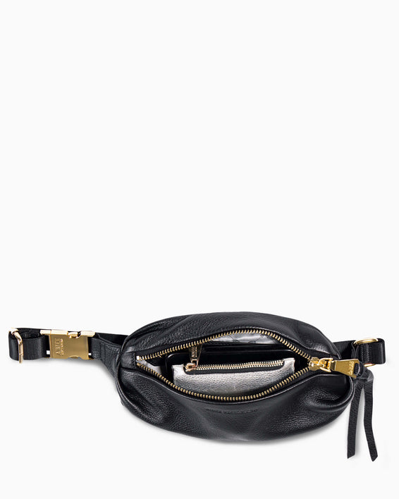 Aimee Kestenberg | Milan Bum Bag Black With Gold Hardware - interior functionality