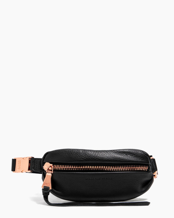 Milan Mini Bum Bag Black With Rose Gold - on model