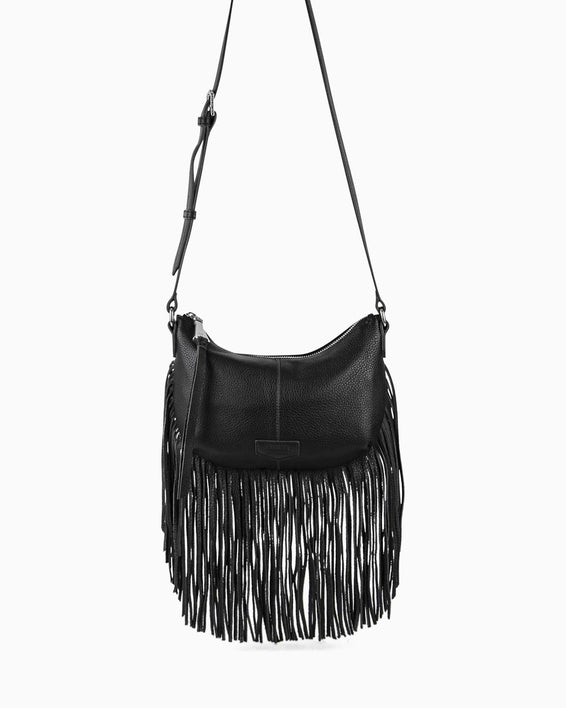 Beach Babe Fringe Crossbody - black front