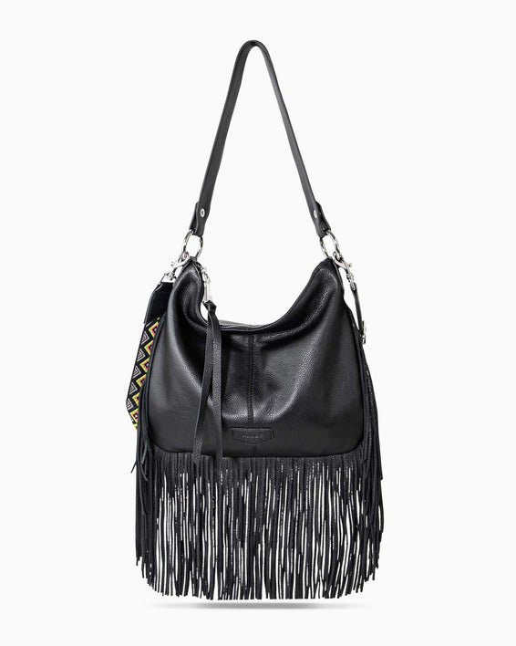 Beach Babe Fringe Hobo - black front