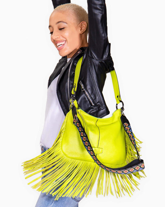 Beach Babe Fringe Hobo - on model