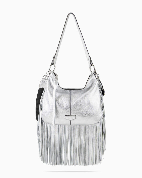 Beach Babe Fringe Hobo - silver front