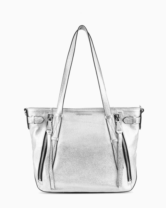 City Slicker Tote - silver metallic front