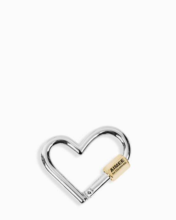 It's A Love Thing Heart Key Fob - silver front