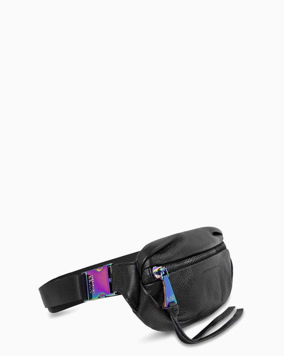 Milan Bum Bag - black with iridescent side angle