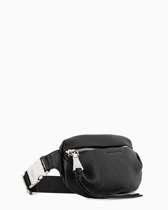 Milan Bum Bag - black with silver side angle