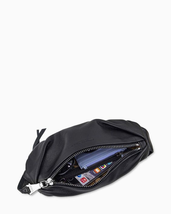 Milan Bum Bag - black with silver interior functionality