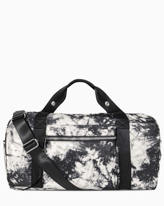 On The Go Large Duffle - vanilla tie dye nylon front